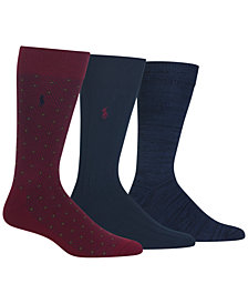 Polo Ralph Lauren Men's 3-Pk. Diamond Dot Dress Socks
