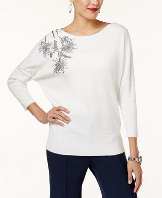 Alfani Petite Embellished Dolman-Sleeve Sweater, Created for Macy's