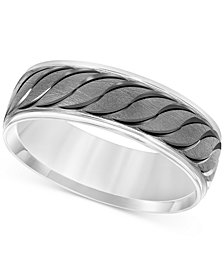 Engraved Scalloped Band in 14k White Gold