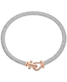 Diamond Dew Drop Mesh Horseshoe Necklace (5/8 c.t. t.w.) in Sterling Silver & 14k Rose Gold-Plate