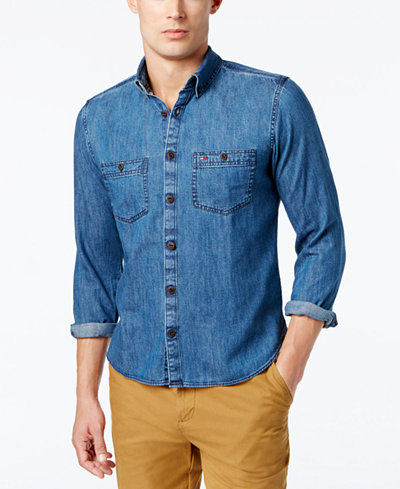 Tommy Hilfiger Men's Classic Denim Shirt - Casual Button-Down ...