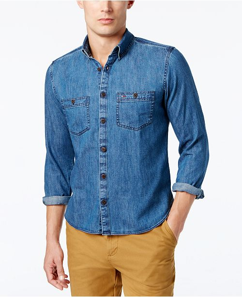 b064ae03 Tommy Hilfiger Men's Classic Denim Shirt; Tommy Hilfiger Men's Classic Denim  ...