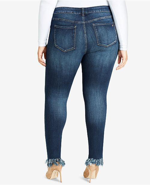 e98c647c20c WILLIAM RAST Trendy Plus Size Ripped Fringe Skinny Jeans   Reviews ...