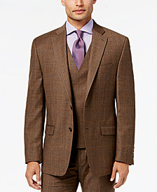 Lauren Ralph Lauren Men's Classic-Fit Ultraflex Brown Plaid Flannel Suit Jacket