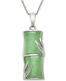 Dyed Jadeite Pendant Necklace in Sterling Silver