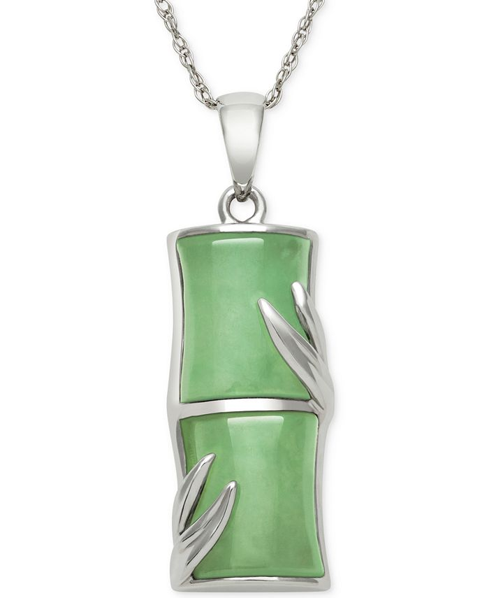 Macy's - Dyed Jade  Pendant Necklace in Sterling Silver