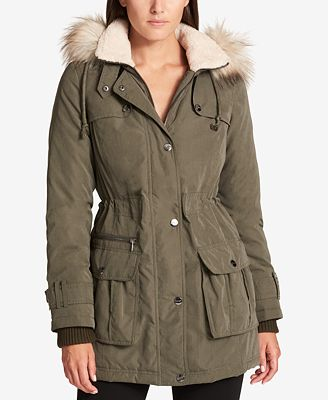 DKNY Faux-Fur-Trim Hooded Parka, Created for Macy's - Women - Macy's