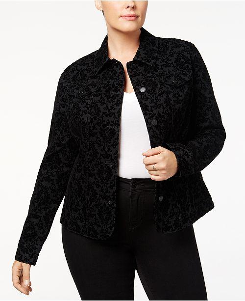 Charter Club Plus Size Flocked Denim Jacket, Created for Macy's