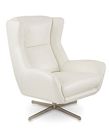 "Trivoly 34"" Leather Swivel Wing Chair, Created for Macy's"