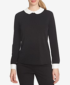 Colorblocked Peter Pan-Collar Blouse