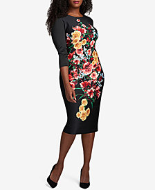 ECI Plus Size Floral-Print Bodycon Dress