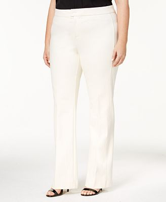 Charter Club Plus Size Ponté-Knit Tab-Waist Pants, Created for Macy's