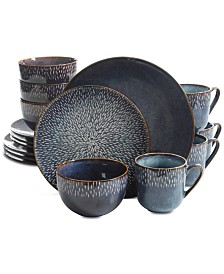 Laurie Gates Matisse Round Blue 16-Pc. Dinnerware Set