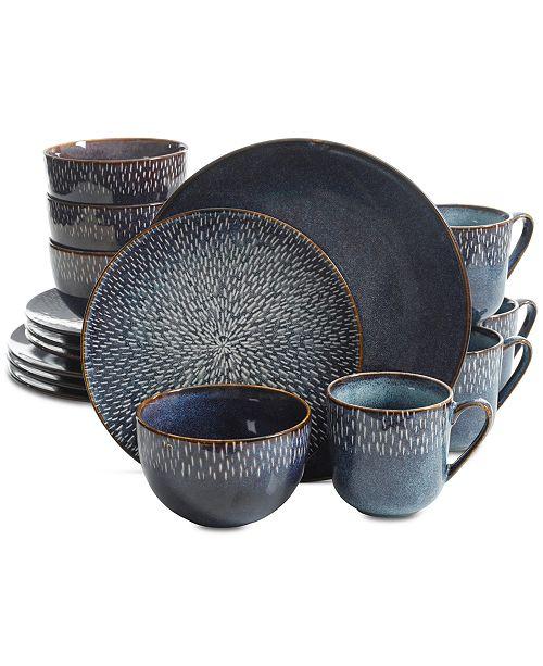 Laurie Gates Matisse Round Blue 16 Pc Dinnerware Set Dinnerware