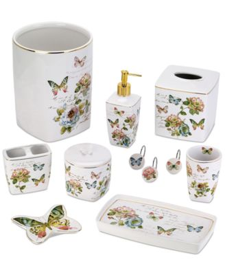 Elevate Your Bath With The Lovely And Inviting Butterfly Garden Bath  Accessories Collection From Avanti. These Ceramic Pieces Have A Delicate  Floral Motif ...