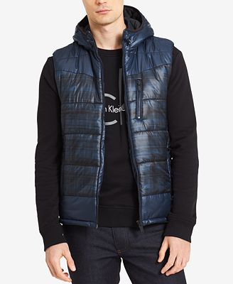 Calvin Klein Jeans Men's Hooded Puffer Vest - Coats & Jackets ...
