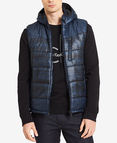 Calvin Klein Jeans Men's Hooded Puffer Vest - Coats & Jackets ...