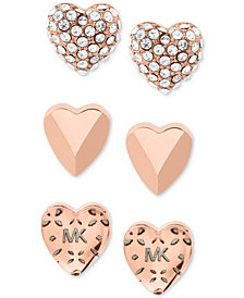 Michael Kors Gold-Tone 3-Pc. Set Pavé Heart Stud Earrings