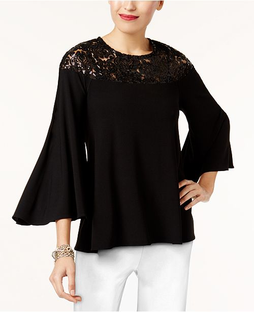 Alfani Petite Sequin-Detail Top, Created for Macy's