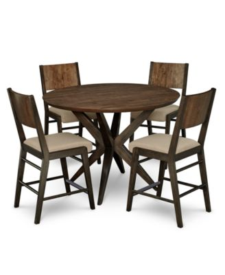 Ashton Round Pedestal Pub Dining Furniture, 5-Pc. Set (Round Pedestal Pub Table & 4 Pub Chairs)