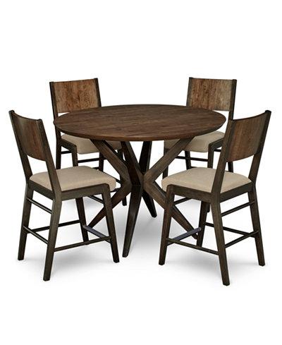 Ashton Round Pedestal Pub Dining Furniture 5 Pc Set