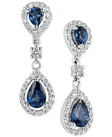 Sapphire (1-3/8 ct. t.w.) & Diamond (3/8 ct. t.w.) Drop Earrings in 14k White Gold