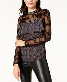 Glam by Glamorous Lace-Sleeve Blouse, Created for Macy's