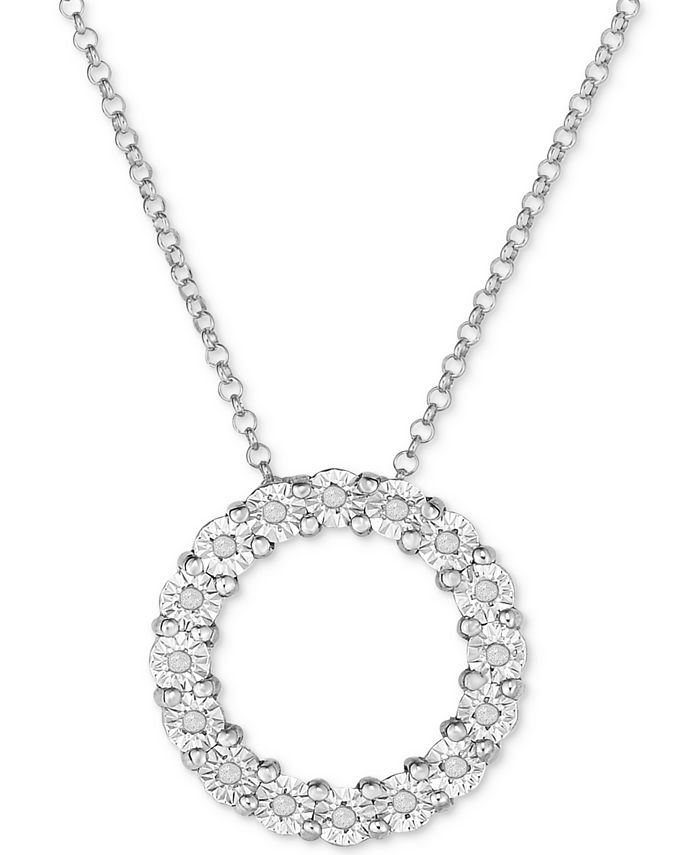 Macy's - Diamond Circle Miracle Plate Pendant Necklace (1/10 ct. t.w.) in Sterling Silver