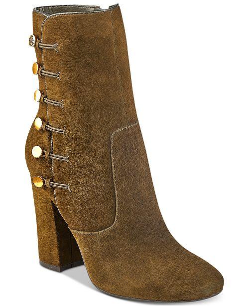 GUESS Women's Lucena Block-Heel Button Booties