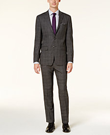 Calvin Klein Men's Extra Slim-Fit Black & White Tonal Plaid Suit