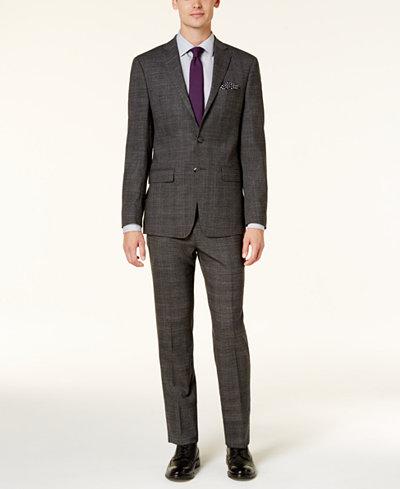 Calvin Klein Men's Extra Slim-Fit Black & White Tonal Plaid Suit