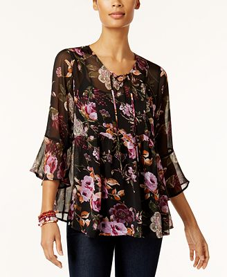 Style & Co Sheer Floral-Print Peasant Top, Created for Macy's