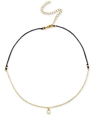 Unwritten Cubic Zirconia Choker Pendant Necklace in Gold-Tone over Sterling Silver