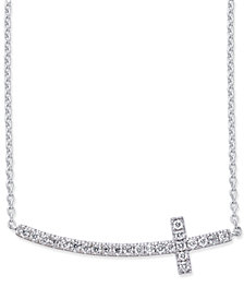 Diamond Side Cross Pendant Necklace (1/5 ct. t.w.) in 14k White Gold