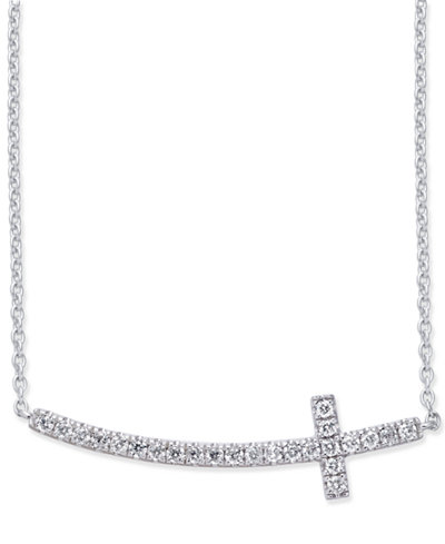 Diamond Side Cross Pendant Necklace (1/5 ct. t.w.) in 14k White Gold