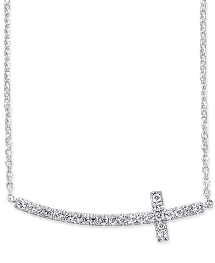 Macy's - Diamond Side Cross Pendant Necklace (1/5 ct. t.w.) in 14k White Gold
