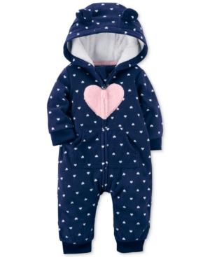 Carters Hooded HeartPrint Fleece Coverall Baby Girls (024 months)