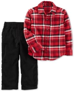 Carters 2Pc Cotton Plaid Shirt  Corduroy Pants Set Baby Boys (024 months)