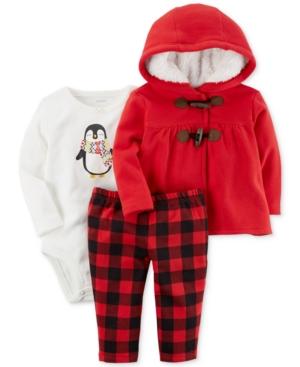 Carters 3Pc Hooded Jacket Penguin Bodysuit  Plaid Pants Set Baby Girls (024 months)