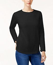 Karen Scott Solid Fleece Crew-Neck Sweatshirt, Created for Macy's