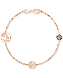 Remix Collection Rose Gold-Tone Crystal Faith and Infinity Bracelet