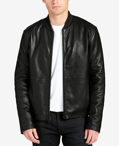 DKNY Men's Leather Bomber Jacket - Coats & Jackets - Men - Macy's