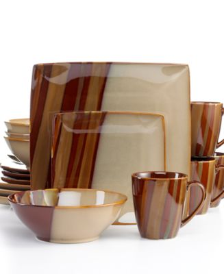 Product Details. In square and round shapes the Avanti Brown dinnerware ...  sc 1 st  Macyu0027s & Sango Avanti Brown 16-Pc. Set Service for 4 - Dinnerware - Dining ...