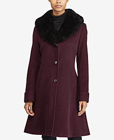 Lauren Ralph Lauren Petite Faux Fur Collar Wool Coat