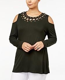 Plus Size Lace-Up Cold-Shoulder Top