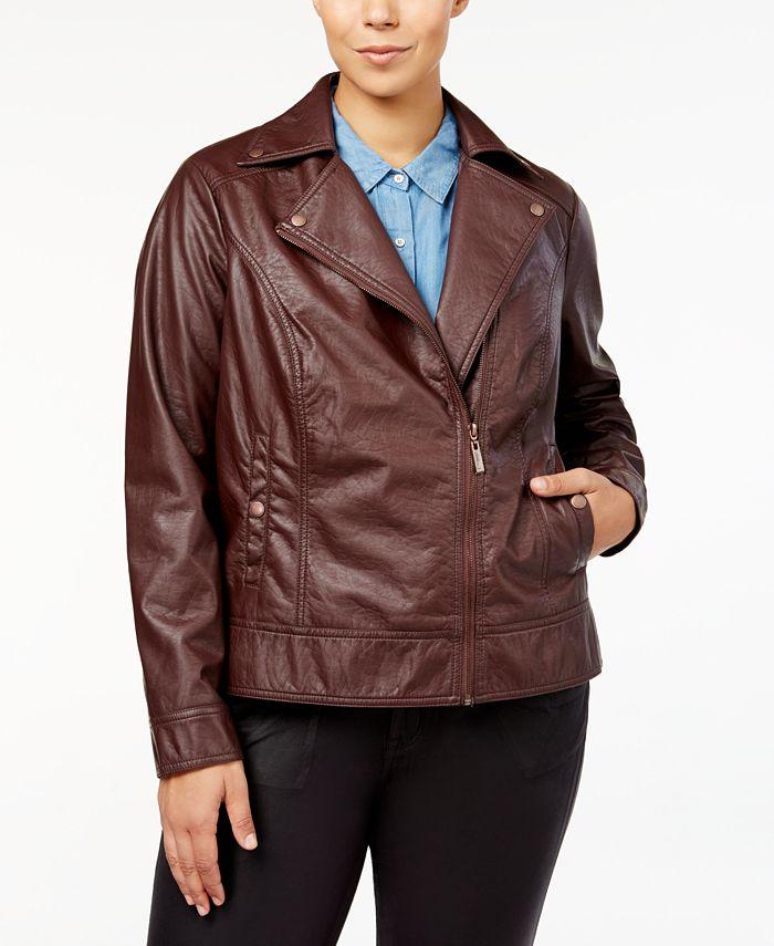 Jou Jou - Plus Size Asymmetrical Faux-Leather Jacket