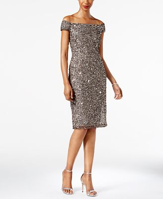 Adrianna Papell Petite Embellished Off-The-Shoulder Dress - Dresses ...
