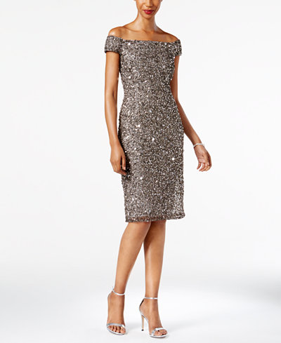 Adrianna Papell Petite Embellished Off-The-Shoulder Dress