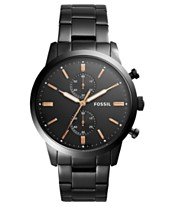 b4589916c7b7e Fossil Men s Chronograph Townsman Black Stainless Steel Bracelet Watch 44mm