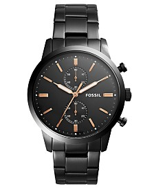 Fossil Men S Chronograph Townsman Black Stainless Steel Bracelet Watch 44mm